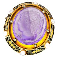 Victorian Amethyst Diamond Natural Pearl 18 Karat Gold Cameo Brooch