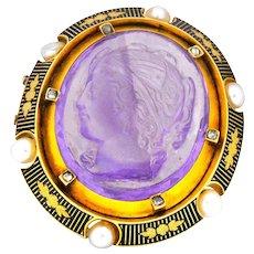 Victorian Amethyst Diamond Natural Pearl 18 Karat Gold Cameo Brooch