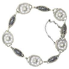 Art Deco 0.30 CTW Diamond Camphor Glass Enamel Platinum-Topped Bracelet