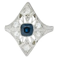 Edwardian 1.25 CTW Sapphire Diamond Platinum Dinner Ring