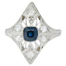 Edwardian 1.25 CTW Sapphire Diamond Platinum Dinner Ring