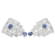 Stunning Art Deco 12.15 CTW Sapphire Diamond Platinum Clips