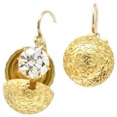 Victorian 3.25 CTW Diamond 14+ Karat Gold Drop Earrings With Coach Covers