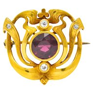 Lovely Art Nouveau Garnet and Old Mine Cut Diamond Pin