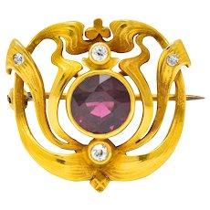 Lovely Art Nouveau Garnet and Old Mine Cut Diamond Pin