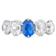 3.11 Carat Antique Platinum Diamond And Sapphire Ring Circa 1915