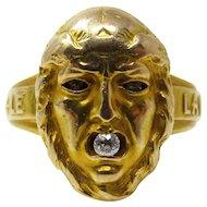 Rare Unisex 14k Victorian Diamond Poison Locket Ring