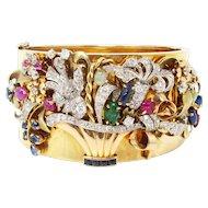 Large Retro 1940's Diamond Carved Ruby, Emerald, Sapphire, Cat's Eye Chrysoberyl Bracelet