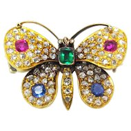 Victorian 18K Diamond Emerald Ruby Sapphire Butterfly Pin