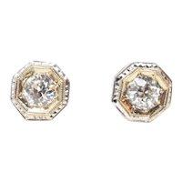 Art Deco Diamond 14k White & Yellow Gold Stud Earrings