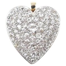 Lovely Large Edwardian Platinum 14K Diamond Heart Brooch / Pendant