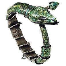 Margot de Taxco Enamel Silver Jewelry Snake Mexico Vintage Bracelet