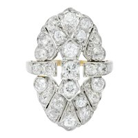 Art Deco 3.50 CTW Diamond Platinum-Topped 14 Karat Gold Dinner Ring