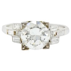 2.54 Carat Dazzling 1950's Platinum Diamond Engagement Ring GIA Certified
