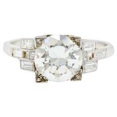Dazzling 1950's Platinum Diamond Engagement Ring Gia