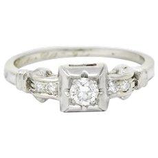 Sweet Vintage 0.17 CTW Diamond 18 Karat White Gold Engagement Ring