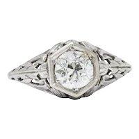 Stunning Art Deco .90 CTW Diamond 14K White Gold Engagement Allternative Ring