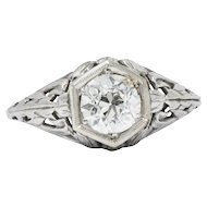 Stunning Art Deco .90 CTW Diamond 14K White Gold Engagement Allternative Ring