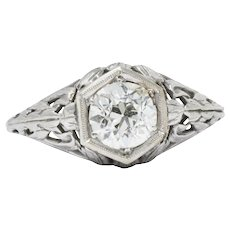 Art Deco  0.90 CTW Diamond 14 Karat White Gold Foliate Engagement Ring