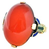 Chic Tiffany & Co. Art Deco 14k Green Gold Carnelian Enamel Ring