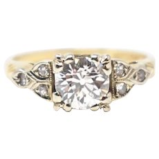 1940's 14k Yellow & White Gold Diamond Engagement Ring