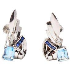 Late Art Deco 14K Tiffany & Company Aquamarine Sapphire Diamond