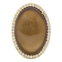 Roberto Coin Classics Smoky Quartz Mother Of Pearl Pavé 1.45 CTW Diamond Halo Cocktail Ring
