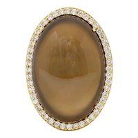Roberto Coin Smoky Quartz Mother-Of-Pearl 1.45 CTW Diamond Halo Gemstone Ring