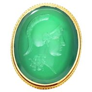 18k Yellow Gold Victorian Etruscan Revival Green Onyx Intaglio Ring