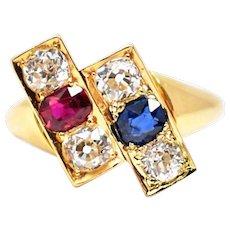 Posh Victorian 18k Sapphire Ruby Diamond Ring
