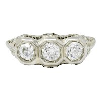 Vintage 1920's Elegant 1.0 CTW Diamond 18K White Gold Alternative Engagment Ring