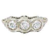 1 CTW 18k White Gold 1920's Three Diamond Ring