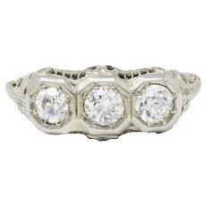 Elegant 18k White Gold 1920's Three Diamond Ring