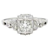 Art Deco Platinum Tier Diamond Engagement Ring