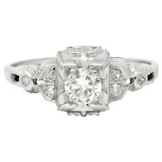 Art Deco Platinum Tier Diamond Engagement Ring