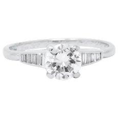 1960's .93 CTW Diamond 14K White Gold Engagement Ring