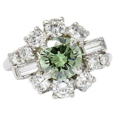 3 Carat Bailey Banks And Biddle Platinum Green Diamond Ring Circa 1950