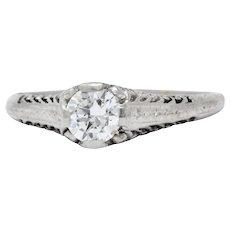 1920's Platinum Solitaire Diamond Engagement Ring Art Deco