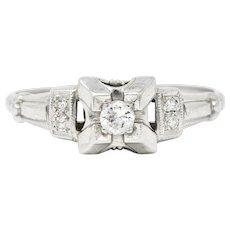 Art Deco Diamond 14 Karat White Gold Engagement Ring