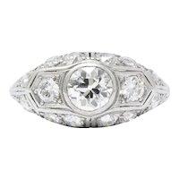 Antique 1930's 2.53 CTW Diamond & Platinum Alternative Ring