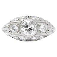 2.53 Carat Art Deco 1930's Platinum Diamond Engagement Ring