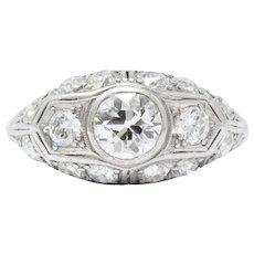 Art Deco 1930's Platinum Diamond Engagement Ring
