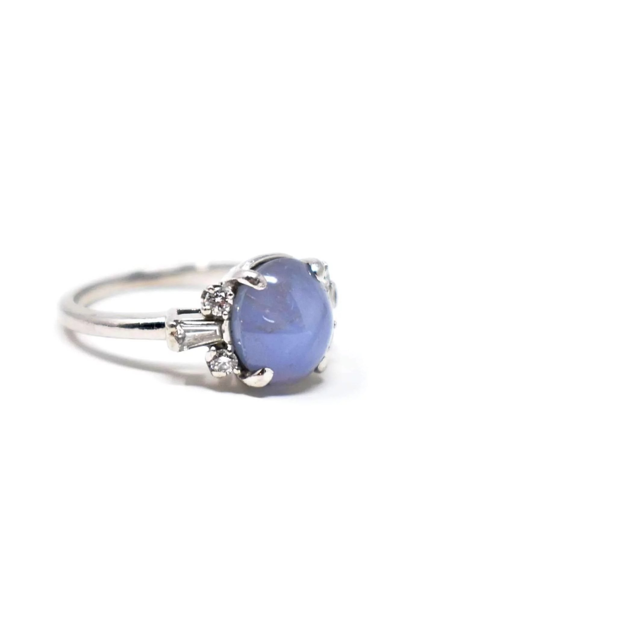 Click to expand · Bailey Banks & Biddle Vintage 4.40 CTW Star Sapphire Diamond Platinum Ring
