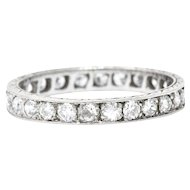 Art Deco 1.70 CTW Diamond Platinum Eternity Band Stackable Ring