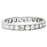 1.70 Carat Art Deco Platinum Diamond Eternity Band Stackable Ring
