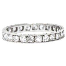 Art Deco 1.70 CTW Diamond Platinum Eternity Band Stackable Ring