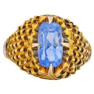 1970's Chic 2.75 CTW Ceylon Sapphire 14K Yellow Gold Ring