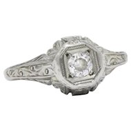 1920's 14k White Gold Diamond Engagement Ring
