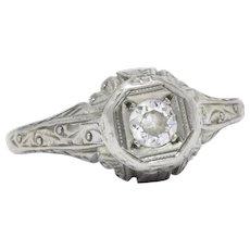 1920's .20 CTW Diamond 14K White Gold Filigree Engagement Ring
