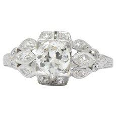1.06 Carat  Art Deco Platinum Diamond Engagement Ring